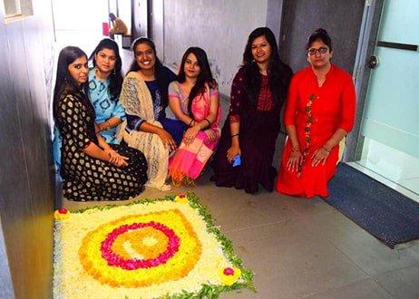 Flower Rangoli making during Diwali at Atlas
